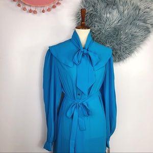 Vtg 70s Blue Bow Bib Tent Style Midi Dress 12 M L